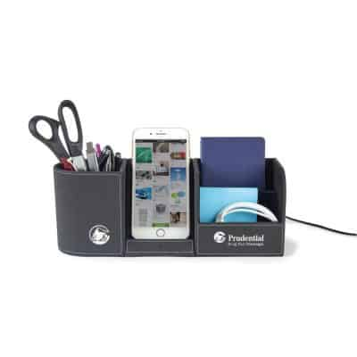 Black Truman Wireless Charging Desk Organizer