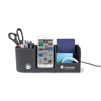 Black Truman Wireless Charging Desk Organizer
