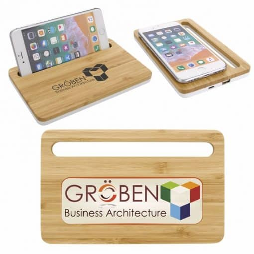 Bamboo Wireless Charging Pad w/Phone Stand